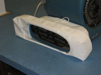 Vinyl boot for attaching blower and dome heater