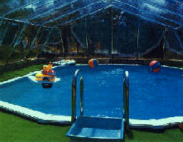 Inside view of an inground pool dome