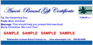 Gift Certificate Sample for a Boat Cover