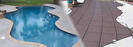 Safety mesh pool cover provides protection and kepts your pool clean for winter