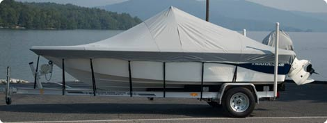 Semi Custom Boat Cover in Grey Poly/Cotton or 100% Cotton, Double Duck