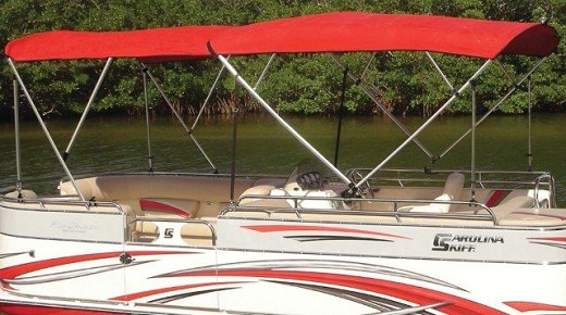 Pontoon Bimini Top in the Closed Position