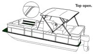 Pontoon Bimini Top in the Open Position