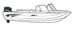 Aluminum fishing boat with high windshield mounted forward