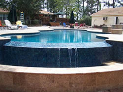 Waterfall of pool without cover