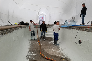 White Construction Dome - Inside view - work in progress, laying plaster.