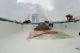 White Construction Dome - Inside view work in progress