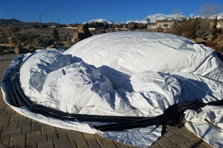 White Air Dome - Setting up dome anchoring, water tubing