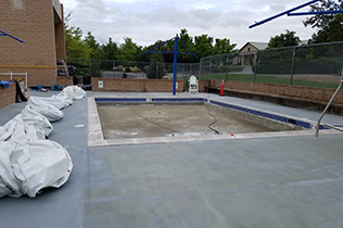 White Construction Dome - on pool deck