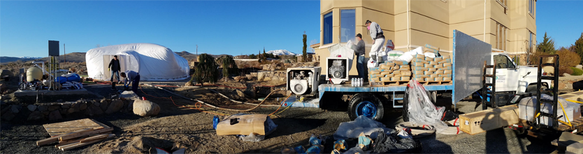 White Construction Dome - Panoramic view of work site with dome.