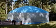 Blue pool dome - Exterior, shorter side.