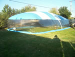 Fully inflated backyard play dome ready for action.