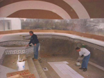 Setting Tile Under Inflated Pool Dome