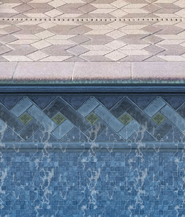 Blue Mountaintop Liner in Inground Pool